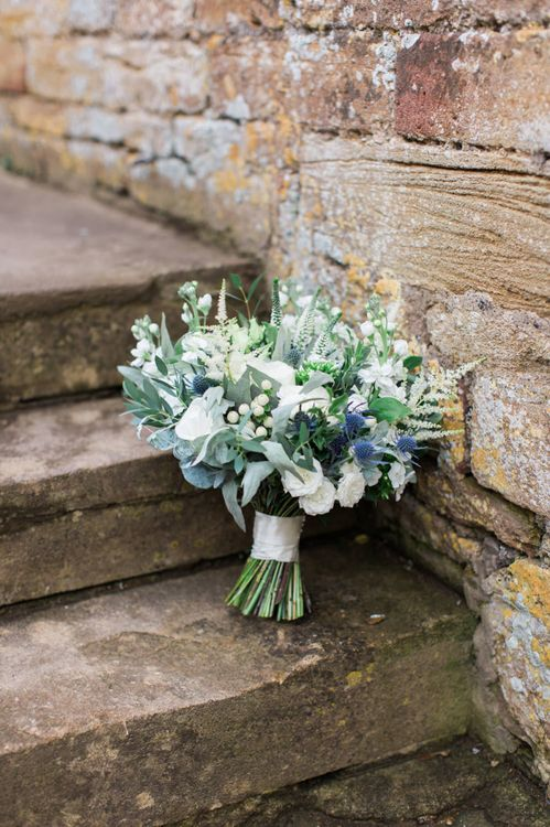 White Flowers and Foliage Bridal Bouquet