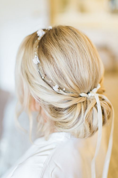 Chic Chignon Bridal Up Do with Delicate Headpiece