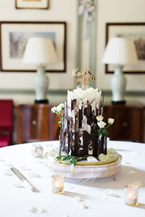 White and Dark Chocolate Shard Wedding Cake