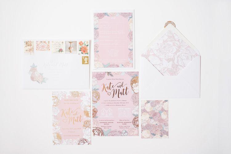 Pink wedding stationery for Didsbury House Hotel wedding
