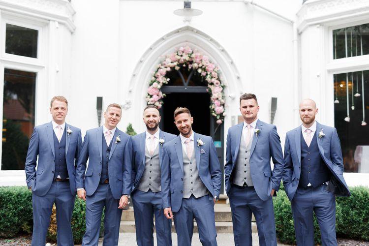 Groomsmen in blue wedding suits at Didsbury House Hotel