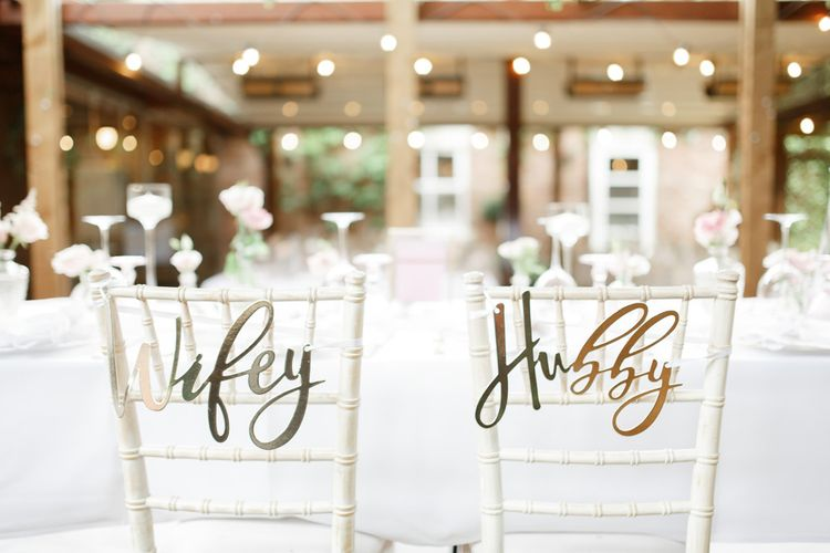 Wedding chair decor at Didsbury House Hotel
