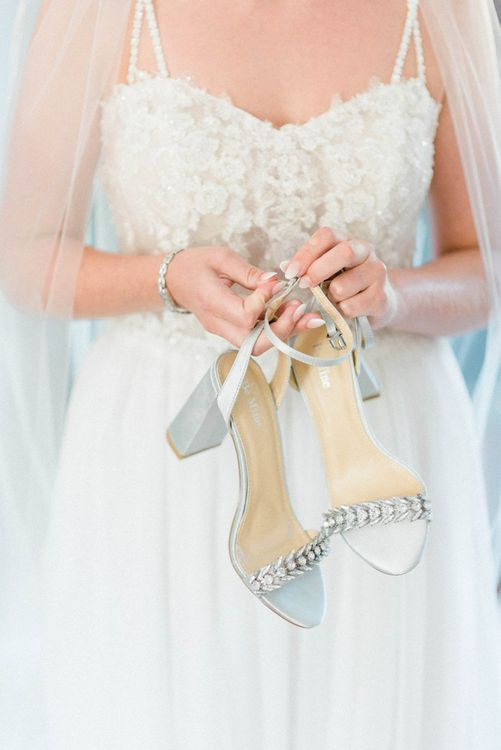 Silver Strappy Wedding Shoes with Jewel Detail
