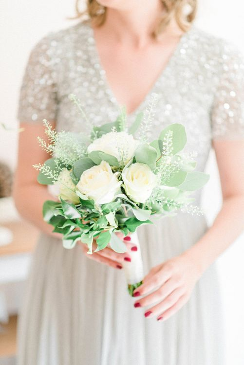 White Rose and Foliage Bridesmaid Bouquet