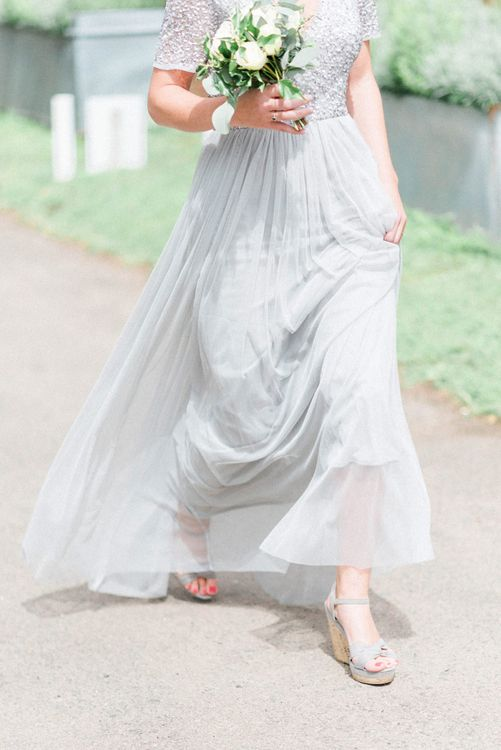 Bridesmaid in Grey Sequin and Tulle MAYA Dress