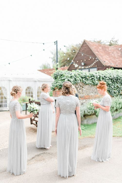 Bridesmaids in Grey Sequin and Tulle MAYA Dresses