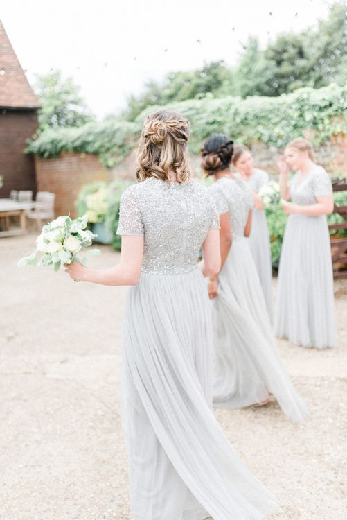 Bridesmaid in Grey Sequin and Tulle MAYA Dress with Half up Half Down Hairstyle