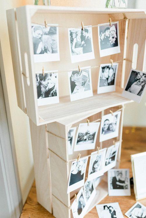 Wooden Crate Polaroid Wedding Decor