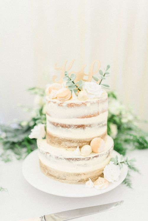 Semi naked Wedding Cake with Macaroons & Gold Cake Topper