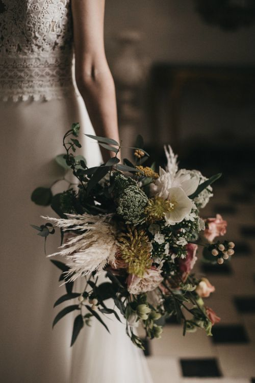 Bridal Bouquet with Peach Flowers, Foliage and Pampas Grass