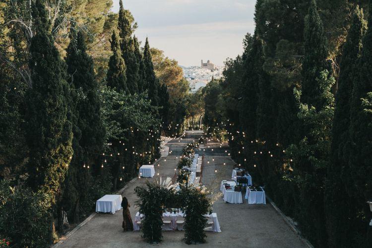 Outdoor Wedding Reception with Festoon Light Canopy