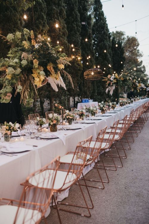 Rose Gold Metal Wedding Reception Chairs