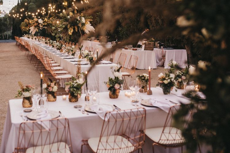 Stylish Wedding Reception Decor with Rose Gold Details and Peach Flowers