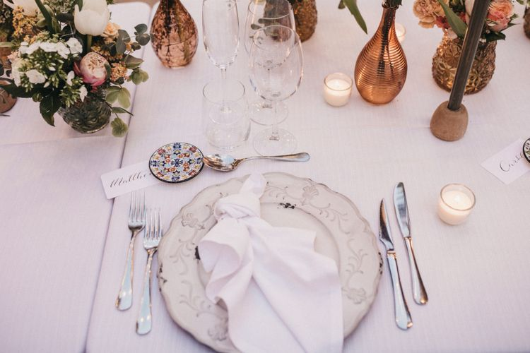 Place Setting with Ornate Tableware and Ceramic Tile Wedding Favour