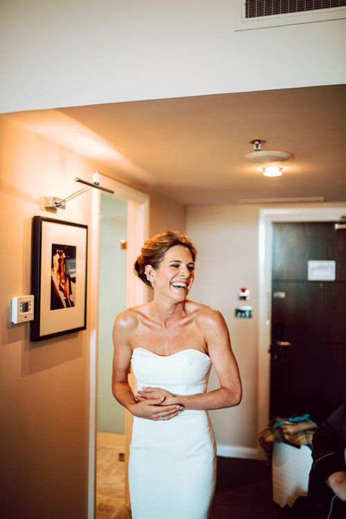 Beautiful bride in strapless Wtoo by Watters wedding dress for Edinburgh elopement