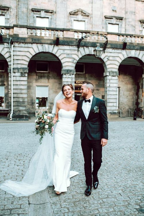 Stylish bride and groom at intimate Edinburgh elopement