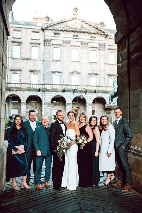 9 weddings guests at winter Edinburgh elopement