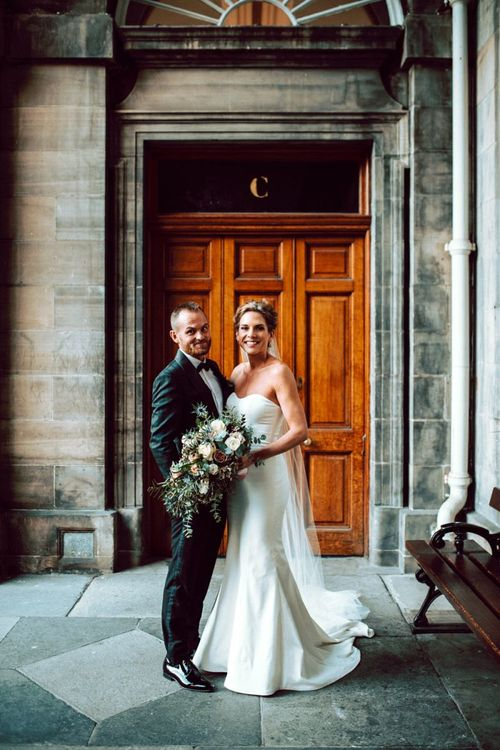 Bride and groom portrait by Northern Aye Photography at Edinburgh elopement