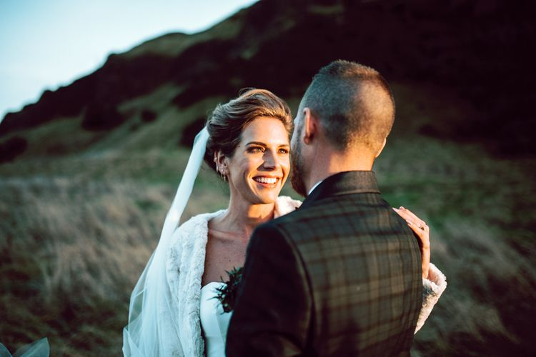 Beautiful bride at Edinburgh elopement