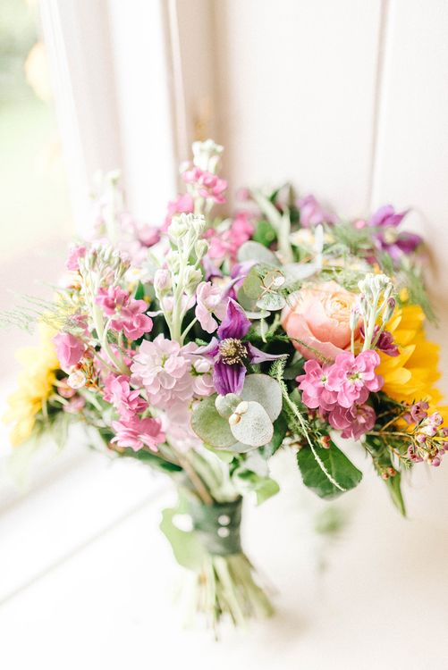 Bright Bridal Bouquet with Sunflowers | Colourful Paper Cranes & Sunflower Wedding Décor in Rustic Barn | Sarah-Jane Ethan Photography
