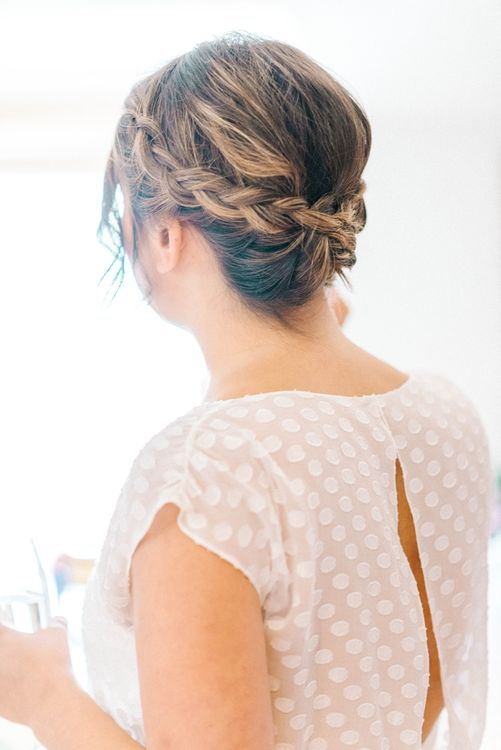 Bridal Plaited Up Do | Bride in Chiffon Polka Dot Dress by Kate Halfpenny | Colourful Paper Cranes & Sunflower Wedding Décor in Rustic Barn | Sarah-Jane Ethan Photography
