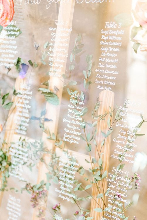 Acrylic Table Plan with Pressed Flowers | Colourful Paper Cranes & Sunflower Wedding Décor in Rustic Barn | Sarah-Jane Ethan Photography