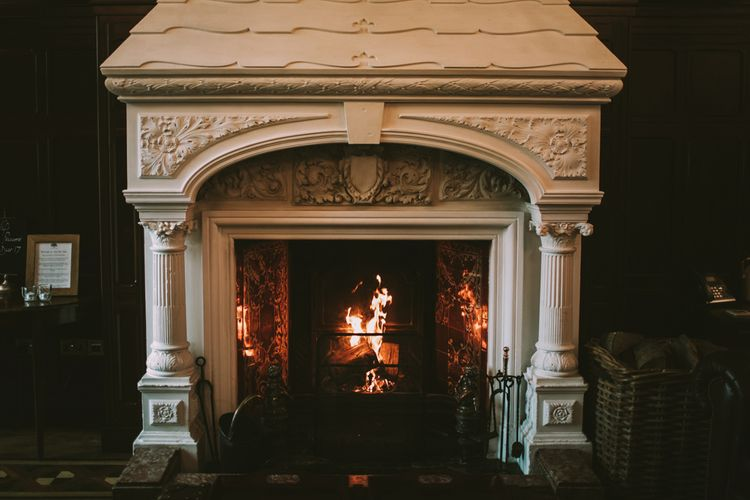 Roaring Fire | Private Country Estate Venue | Tyn Dwr Hall, North Wales | Justin Alexander Gown from Brides by Tina Louise | Photography by Livi Edwards.