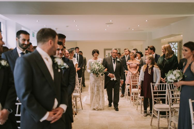 Walking Down the Aisle | Tyn Dwr Hall, North Wales | Justin Alexander Gown from Brides by Tina Louise | Photography by Livi Edwards.