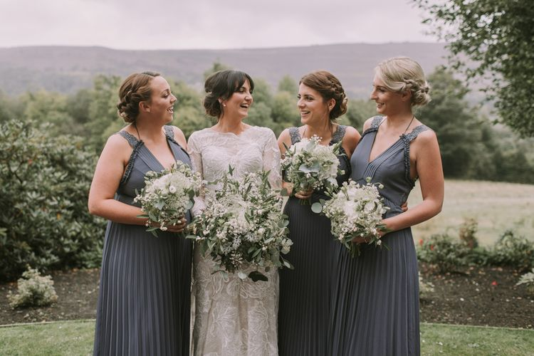 Bridesmaids in Reiss Dresses | Tyn Dwr Hall, North Wales | Justin Alexander Gown from Brides by Tina Louise | Photography by Livi Edwards.