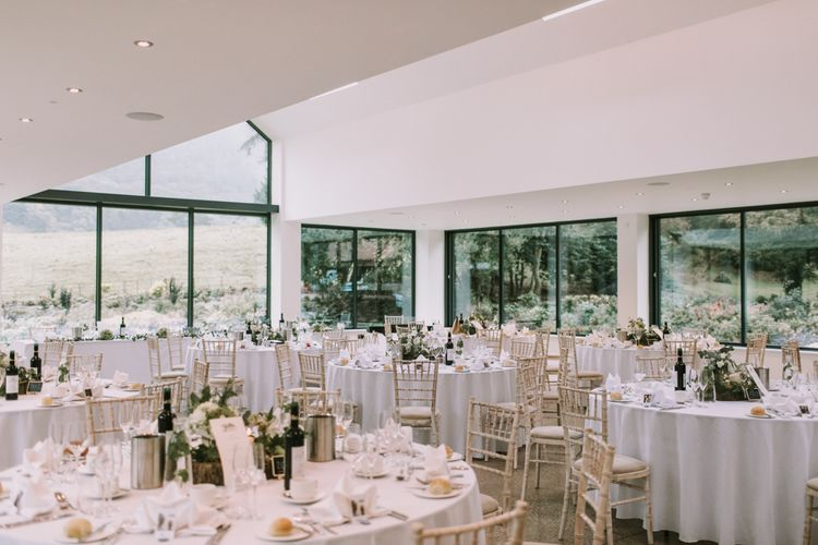 Reception Hall | Tyn Dwr Hall, North Wales | Justin Alexander Gown from Brides by Tina Louise | Photography by Livi Edwards.