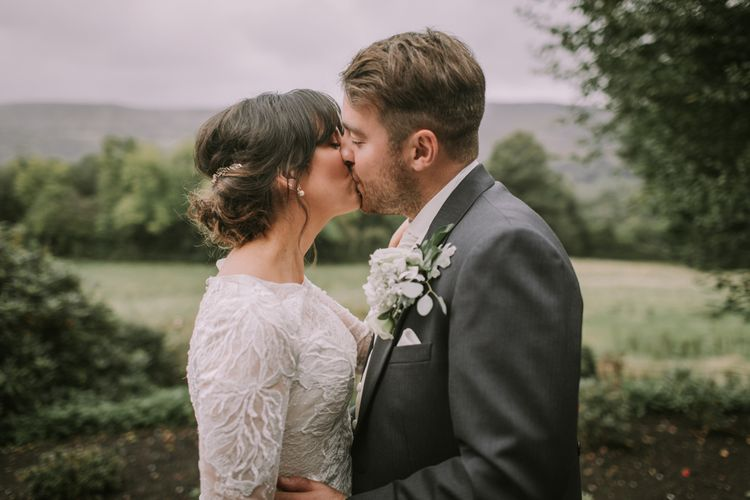 Bride and Groom | Tyn Dwr Hall, North Wales | Justin Alexander Gown from Brides by Tina Louise | Photography by Livi Edwards.