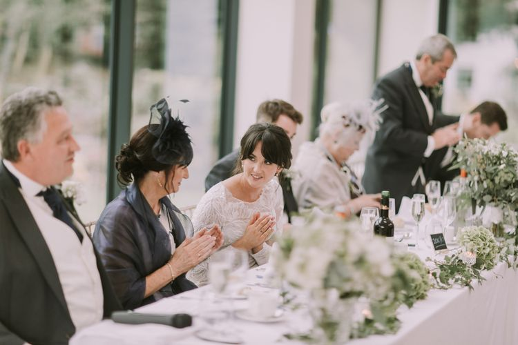Reception | Head Table | Tyn Dwr Hall, North Wales | Justin Alexander Gown from Brides by Tina Louise | Photography by Livi Edwards.