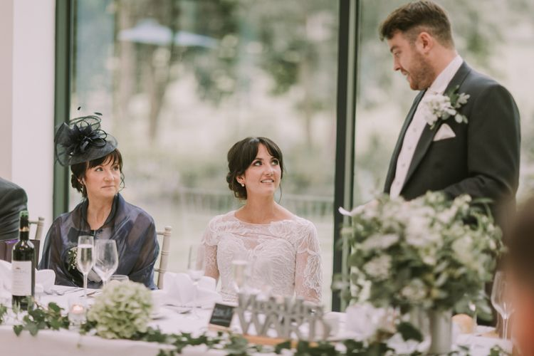 Speeches | Reception | Head Table | Tyn Dwr Hall, North Wales | Justin Alexander Gown from Brides by Tina Louise | Photography by Livi Edwards.