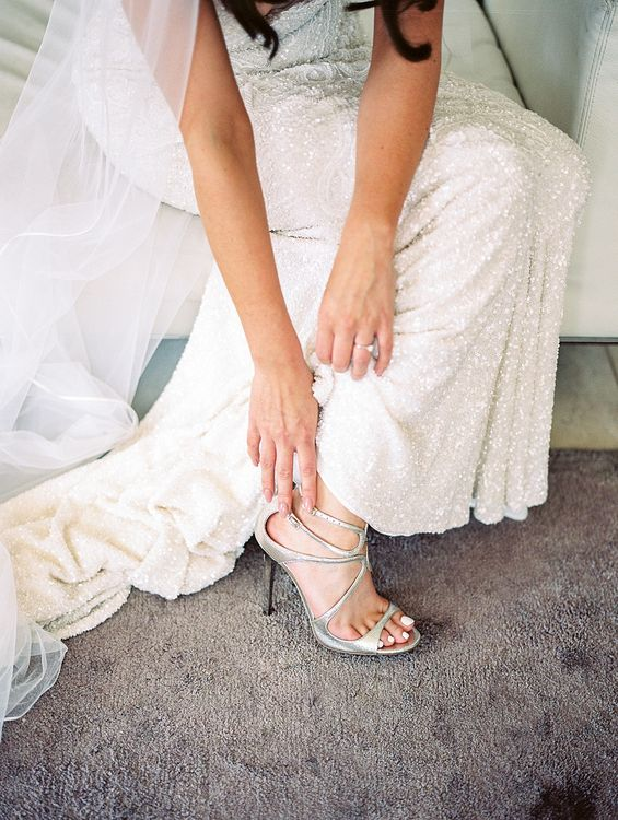 Wedding Morning Bridal Preparations | Bride in Jimmy Choo Shoes & Bespoke Wedding Dress | Elegant White, Green & Gold Wedding with Succulent & Foliage Decor at ICA in London City | Kylee Yee Fine Art Photography