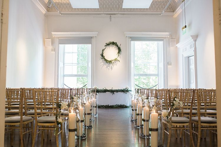 Wedding Ceremony | Aisle & Altar Style | Elegant White, Green & Gold Wedding with Succulent & Foliage Decor at ICA in London City | Kylee Yee Fine Art Photography