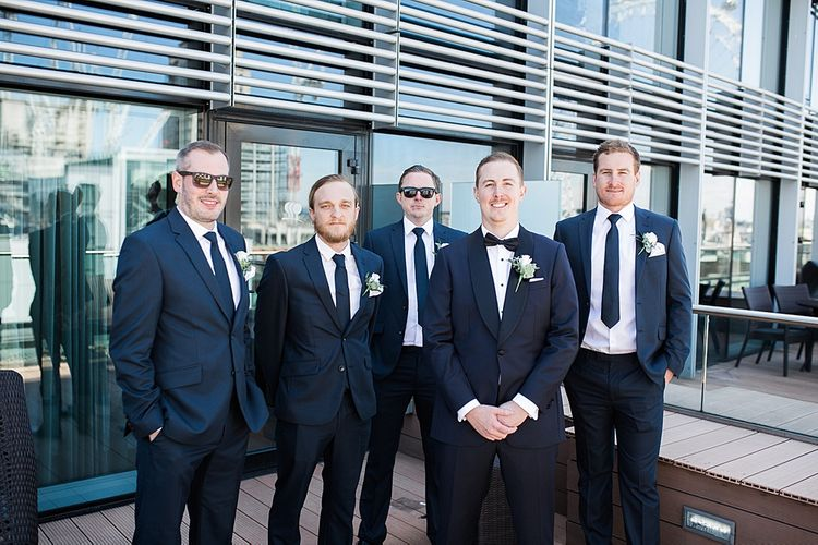 Groom in Oscar Hunt Tuxedo | Groomsmen in Suits | Elegant White, Green & Gold Wedding with Succulent & Foliage Decor at ICA in London City | Kylee Yee Fine Art Photography