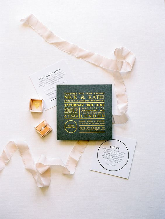 Wedding Invitation & Engagement Ring | Elegant White, Green & Gold Wedding with Succulent & Foliage Decor at ICA in London City | Kylee Yee Fine Art Photography