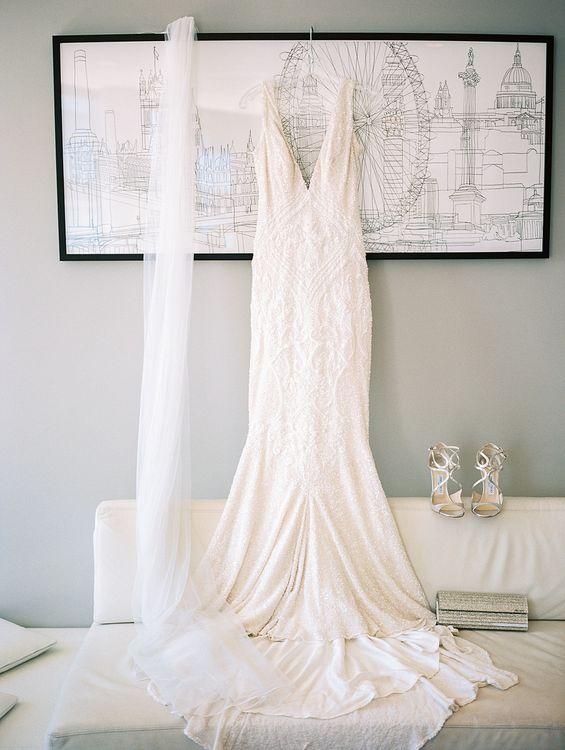 Wedding Morning Bridal Preparations | Bespoke Wedding Dress | Jimmy Choo Shoes | Elegant White, Green & Gold Wedding with Succulent & Foliage Decor at ICA in London City | Kylee Yee Fine Art Photography