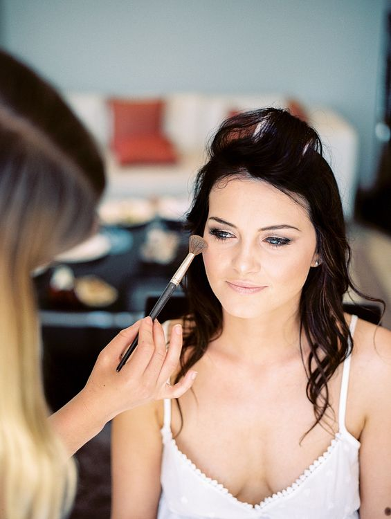 Wedding Morning Bridal Preparations | Bridal Makeup | Elegant White, Green & Gold Wedding with Succulent & Foliage Decor at ICA in London City | Kylee Yee Fine Art Photography