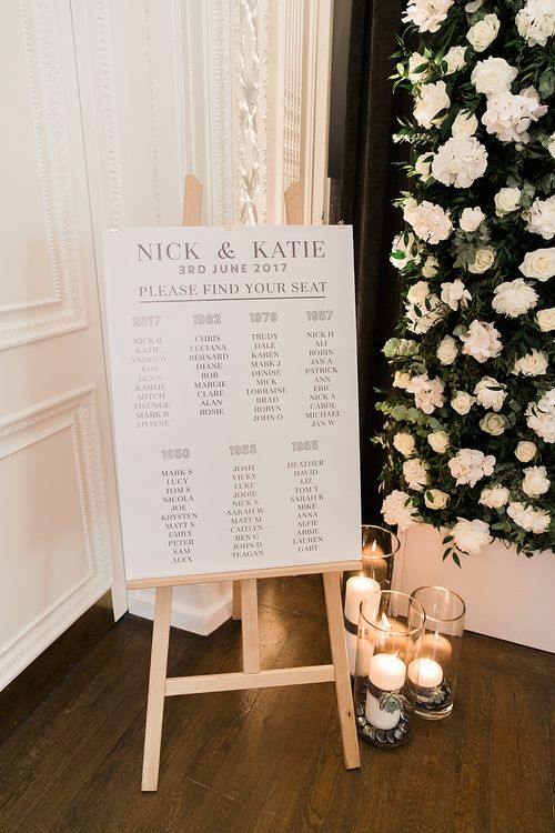 Table Plan on Easel | Elegant White, Green & Gold Wedding with Succulent & Foliage Decor at ICA in London City | Kylee Yee Fine Art Photography