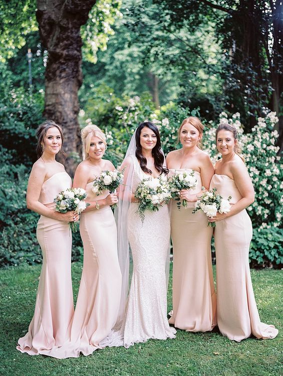 Bridal Party | Bridesmaids in Nude Jarlo Dresses | Bride in Bespoke Wedding Dress | Elegant White, Green & Gold Wedding with Succulent & Foliage Decor at ICA in London City | Kylee Yee Fine Art Photography