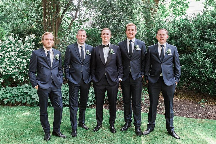 Groom in Tuxedo | Groomsmen in Navy Suits | Elegant White, Green & Gold Wedding with Succulent & Foliage Decor at ICA in London City | Kylee Yee Fine Art Photography