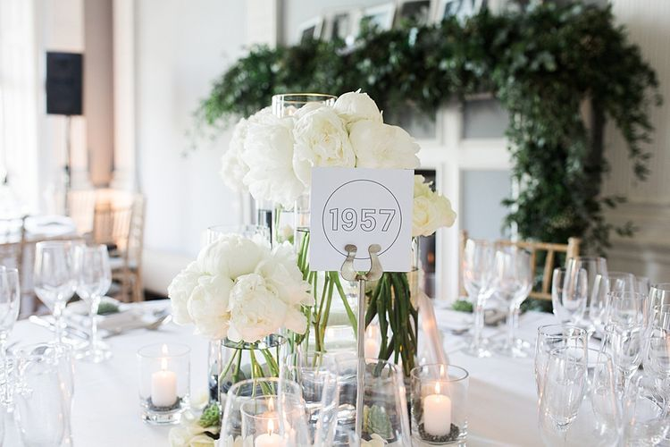 Year Table Names and White Peony Floral Centrepiece | Elegant White, Green & Gold Wedding with Succulent & Foliage Decor at ICA in London City | Kylee Yee Fine Art Photography