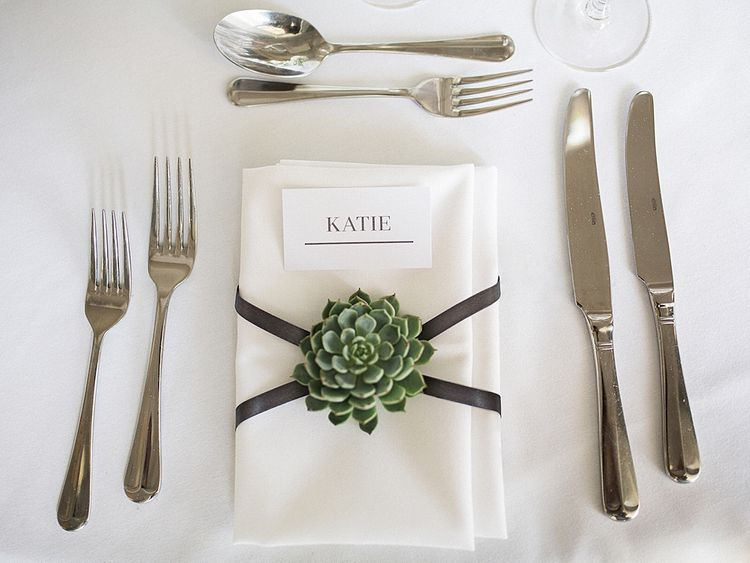 Succulent Place Setting Flower | Elegant White, Green & Gold Wedding with Succulent & Foliage Decor at ICA in London City | Kylee Yee Fine Art Photography