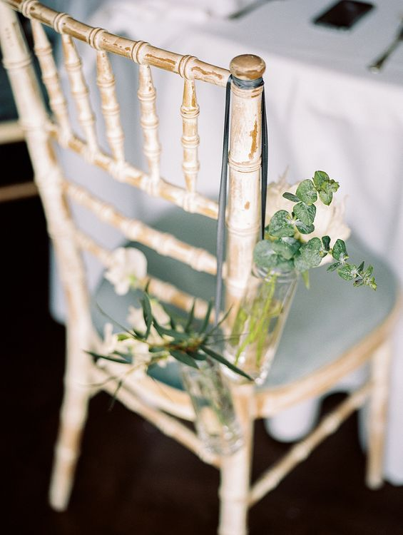 Floral Chair Back Decor | Elegant White, Green & Gold Wedding with Succulent & Foliage Decor at ICA in London City | Kylee Yee Fine Art Photography