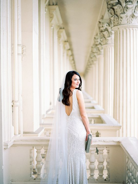 Bride in Bespoke Wedding Dress | Elegant White, Green & Gold Wedding with Succulent & Foliage Decor at ICA in London City | Kylee Yee Fine Art Photography