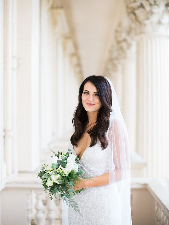Beautiful Bride in Bespoke Bridal Gown | Elegant White, Green & Gold Wedding with Succulent & Foliage Decor at ICA in London City | Kylee Yee Fine Art Photography