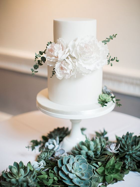 Elegant White Wedding Cake with Succulent Decor | Elegant White, Green & Gold Wedding with Succulent & Foliage Decor at ICA in London City | Kylee Yee Fine Art Photography
