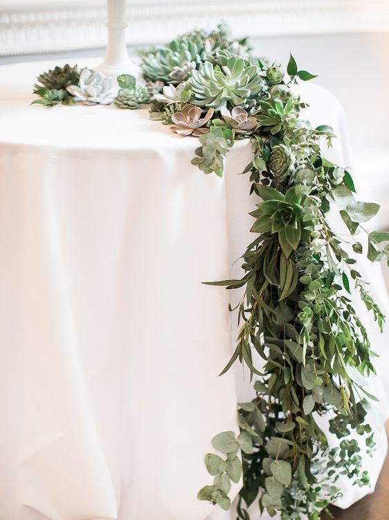 Foliage & Succulent Floral Garland | Elegant White, Green & Gold Wedding with Succulent & Foliage Decor at ICA in London City | Kylee Yee Fine Art Photography