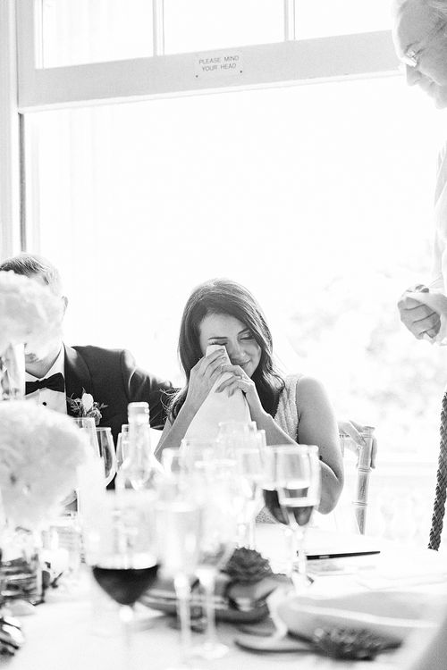 Tearful Wedding Reception Speeches | Elegant White, Green & Gold Wedding with Succulent & Foliage Decor at ICA in London City | Kylee Yee Fine Art Photography